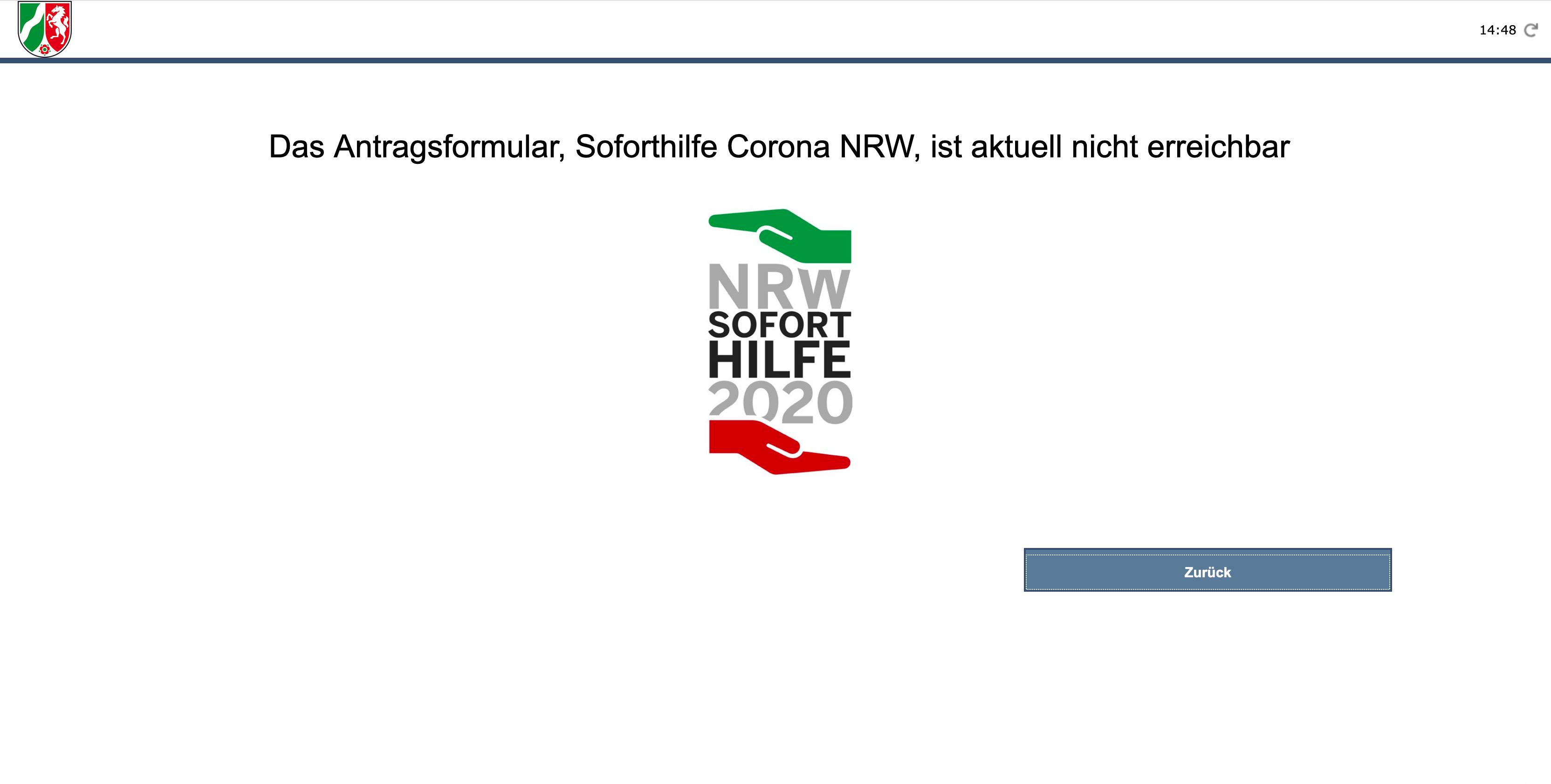 Antragsverfahren zur NRW-Soforthilfe gestoppt